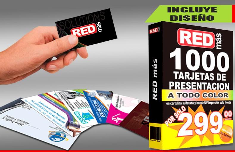 1000 tarjetas de presentacion con barniz UV